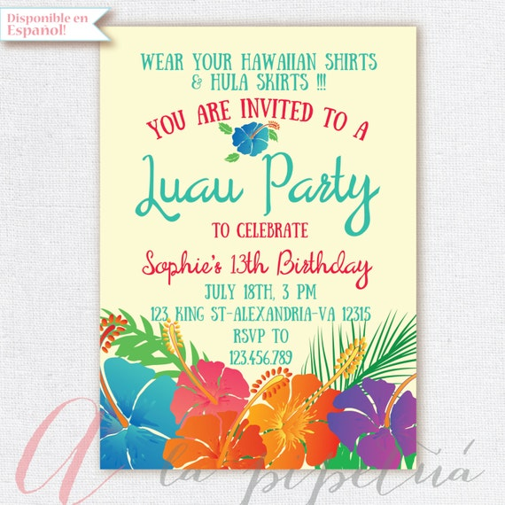 Luau invitation birthday party hawaiian party invitation luau invitation birthday party hawaiian party invitation hawaiian birthday luau party printable invitation stopboris Choice Image