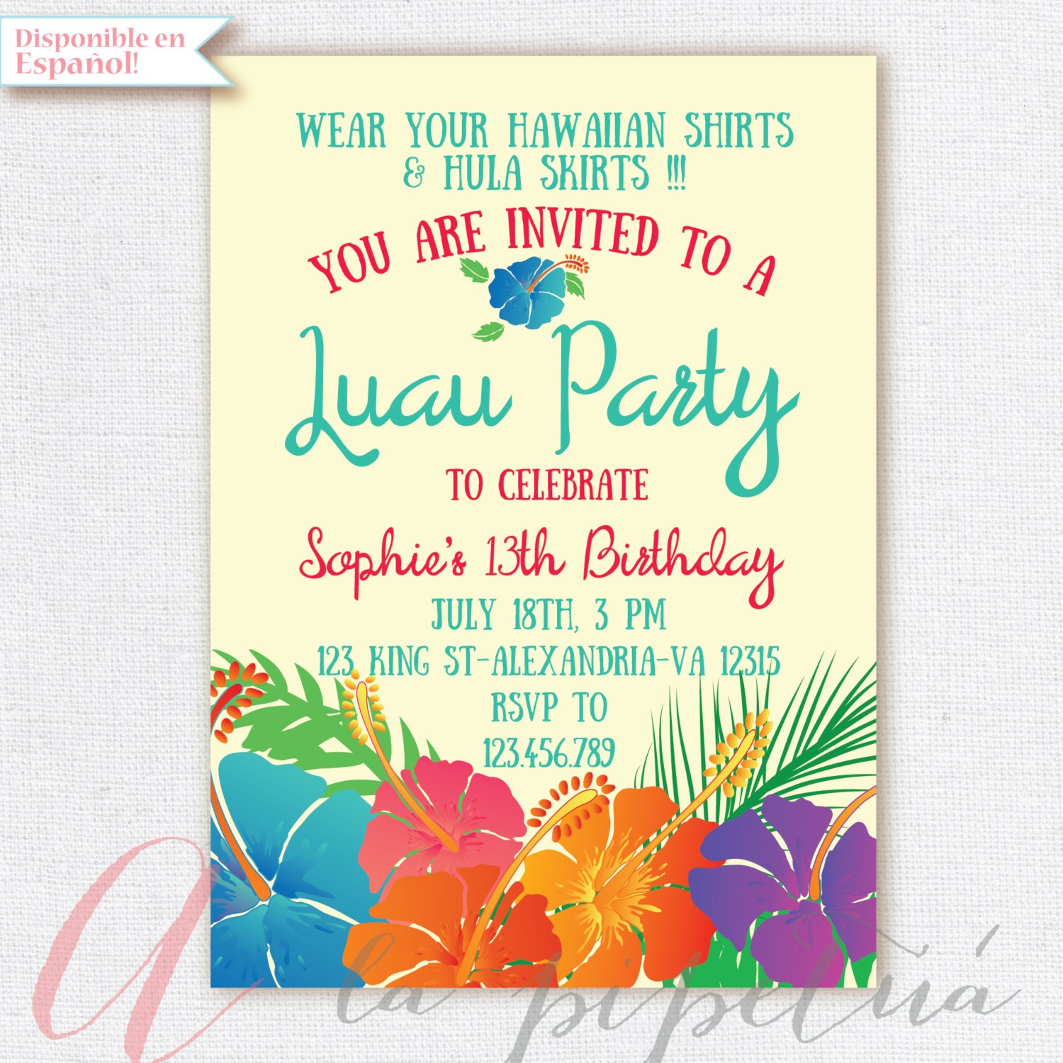 Luau invitation birthday party hawaiian party invitation zoom stopboris Gallery