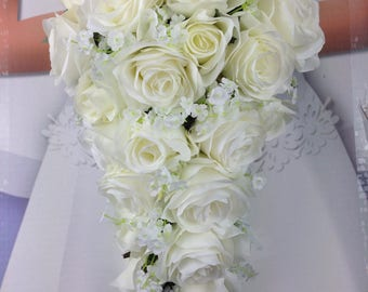 "New Artificial White Wedding Teardrop Bouquet, 15"" in length. Baby's Breath and Rose Bridal Bouquet"