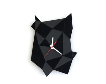 Black Geometric Clock - Faceted Textural Geometric Wall Clock