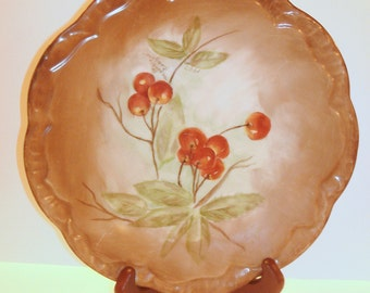Collectible Plate Cherry Motif Brown Heavy Porcelain with Scalloped Rim Raised Ruffle Edge Hanging Plate Wall Decor Serving Plate