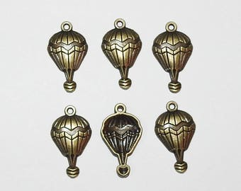 Six bronze tone Steampunk Hot Air Balloon Aviation Charms Pendants 30mm