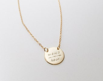 Mom's Necklace | Mama Bear Necklace | Mothers Day Necklace | Heart Necklace | Gold Rose Gold Silver | Gift for Mom