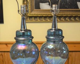 Vintage Blue Iridescent Glass Table Lamp Set of 2 Ginger Jar Matching Pair Silver Tone Metal Base PanchosPorch