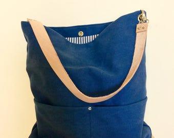 Blue Hobo bag, Canvas hobo bag, diaper bag, canvas bag, canvas tote, canvas bag, hobo canvas, beach bag with Real Leather Strap, mum bag