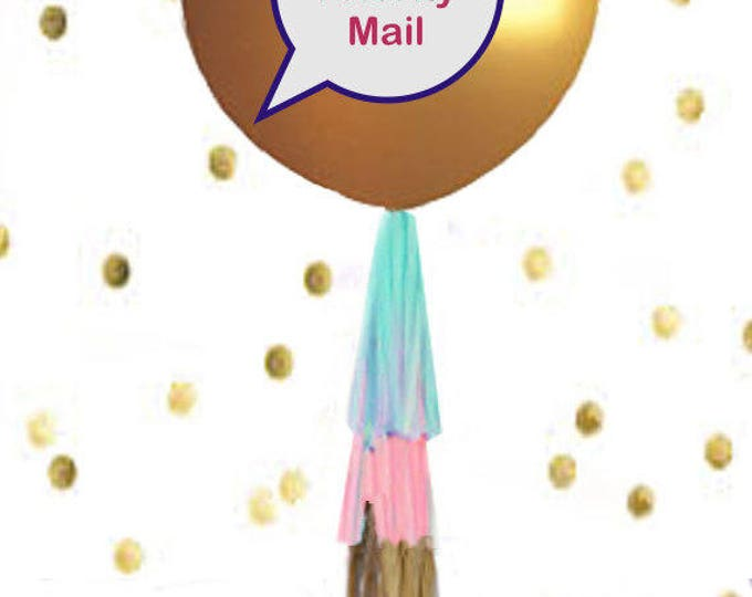 Gender Reveal Balloon in GOLD, Ships Priority Gender Reveal Balloon with Confetti, Gender Reveal Balloon with Tassels, Gold Gender Reveal
