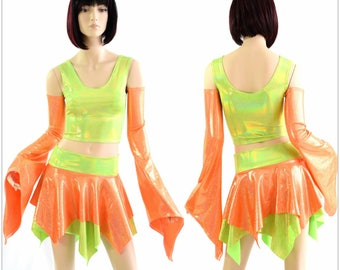 Pixie Day-Tripper Set in Orange Sparkly Jewel & Lime Holographic 154384