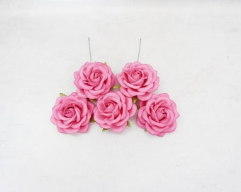5 pc - 6 cm warm pink paper roses with wire stems - 60mm paper roses