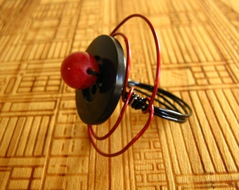 Black Button and Red Wire Ring