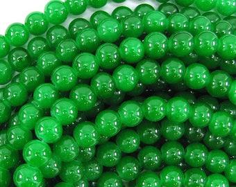 """8mm glass round beads 14"""" strand dark green 32500"""