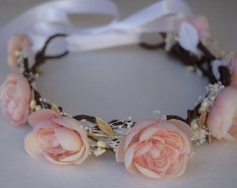 Blush Pink Flower Crown - Baby's Breath & Gold Flower Girl Crown- Ranunculus Flower Crown- Bridal Hair Wreath- Photo Prop- Pink Flower Girl