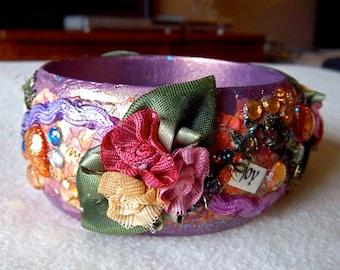 "Bangle cuff bracelet ""Inspiration, Wisdom, and Joy"""