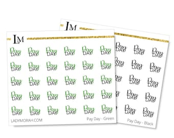Payday Stickers for Planners - Green - Planner Stickers - Script Font