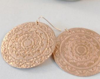 Rose Gold Mandala,Rose Gold Jewelry,Large Earring,Boho Earring,Rose Gold Earrings,Rose Gold boho earring,Gypsy Earring,Rose Gold,Gold Filled