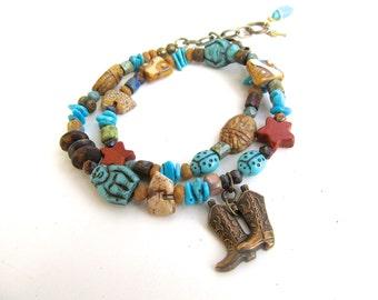 Funky Cowboy Boot Bracelet - Southwestern Boot Bracelet - Cowgirl Wrap Bracelet