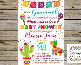 FIESTA Baby Shower INVITATION - Fiesta Baby Shower Invite - Customized Digital Printable - No time for Siesta Lets Fiesta - Holy Guacamole