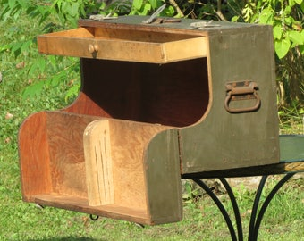 Sensational Old Green Latch-able Lockable Wooden Toolbox With Top Drawer