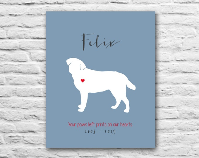 Labrador Retriever Gift - Dog Memorial Print, 100% Customizable - 8x10 Print Silhouette Dog Quotes, Funny Canine Animal Lover Gift Any Breed