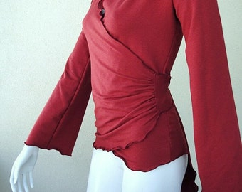 shirt wrap top, organic cotton red shirt, more colors