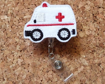 Ambulance Badge Reel - Emergency Services ID Badge Reel -  EMT Felt Badge Reel, Retractable Name Holder, Medical Badge,  249