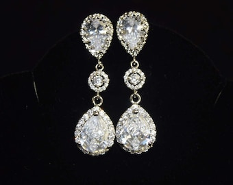 Crystal Bridal Earrings for Weddings, Statement Wedding Earrings, Crystal Wedding Jewelry for Brides, Teardrop Earrings, Bridal Jewelry