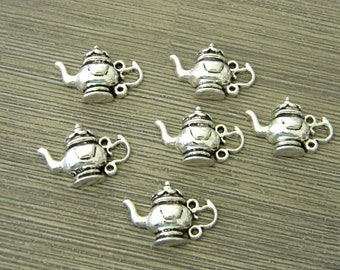 Teapot Charms Set of 6 Silver Color 22x15mm