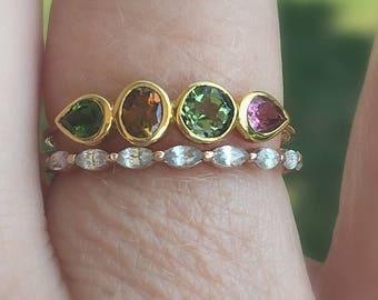 Dainty Tourmaline 14K Gold Stacking Ring, Size 7.5, Tourmaline Gemstone Band, Multi Stones, Gift for Her, Slim Band