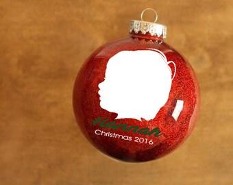Custom Child Silhouette Glitter Ornament // Custom Silhouette // Glitter Ornament // Silhouette Ornament // Keepsake // Plastic Ornament