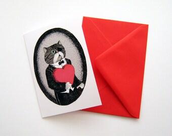 Cat Colonel Valentine's card persian exotic cat