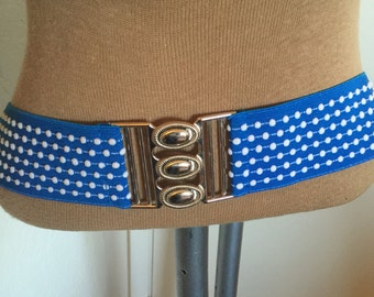 Vintage 80s Blue Polka Dot Fabric Stretchy Belt