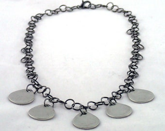 """Guitar Hero Necklace - 18"""" handmade chain necklace with pewter """"guitar pick"""" pendants."""