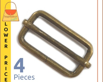 "1.25 Inch Moving Bar Purse Strap Slides, Antique Brass / Bronze Finish, 4 Pieces, 1-1/4"", 1-1/4 Inch, Handbag Purse Hardware, BKS-AA055"