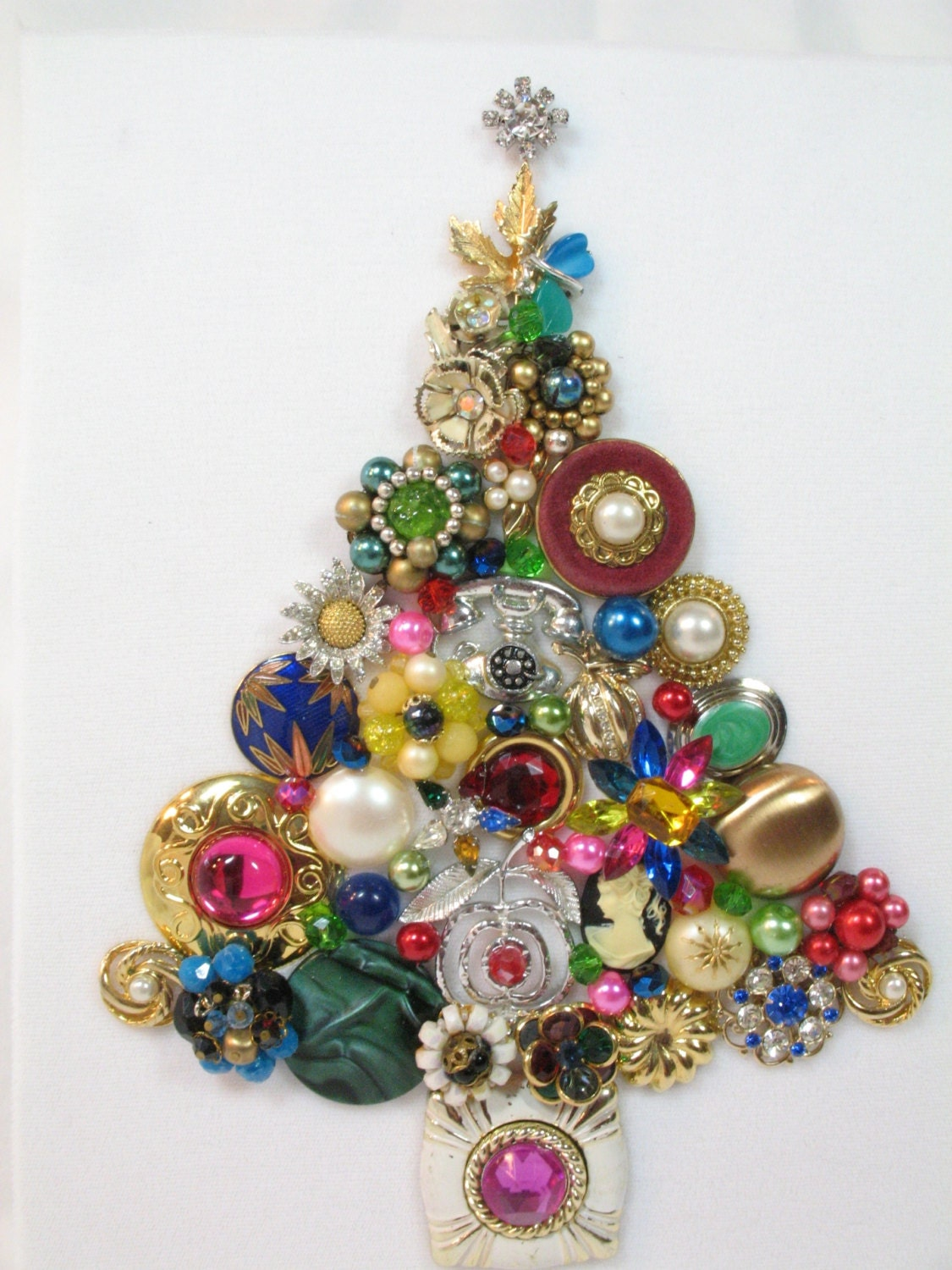 Framed Vintage Jewelry Christmas Tree Shiver by Sunny Day
