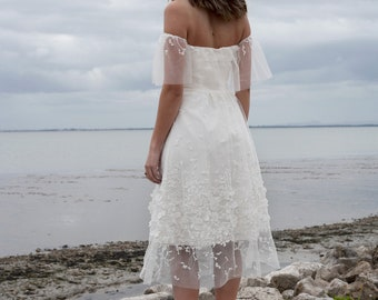 Boho wedding dress, off shoulder wedding dress, bohemian, rustic wedding dress, unique wedding dress, fairy wedding - Linnea dress