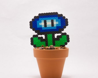 Fire Flower and Ice Flower Potted Bead Sprite from Super Mario Bros with Pixelated Dirt