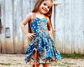 Dress - Girls Dresses - Sun Dress - Boutique Dress - Open Back Dress - Peek A Boo Dress - Strap Dress - Party Dress - Special Occasion Dress