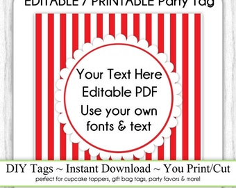 Printable Party Favor, Red Stripes Editable Party Tag, Square, INSTANT DOWNLOAD, Use as Cupcake Topper, DIY Party Tag, Your Text, Fonts