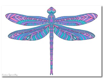 Dragonfly Colouring Page, Intricate Vector PDF File, Instant Download