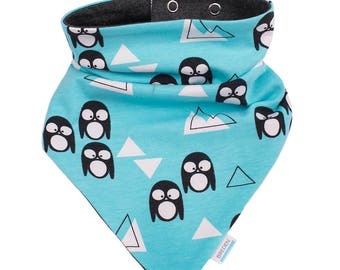 Organic baby boy merino wool scarf. Organic cotton overlay, merino wool lining penguin pattern blue bandana scarf for baby, toddler boy