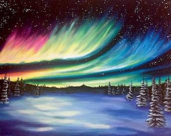 Northern Lights and Snow Original Painting