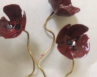 Handmade metallics poppies / Χειροποίητες μεταλλικές παπαρούνες