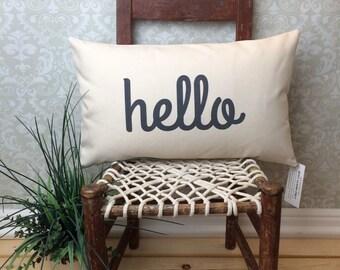 Hello Pillow with Insert, Entry Way Pillow, Lumbar Pillow, Long Pillow, Conversational Pillow, Sofa Pillow, Chair Pillow, Oblong Pillow