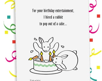 Surprise Surprise Birthday Card, Rabbit Card, Printed or Downloadable, Custom Card, Beckhardt-Lada Design, Surprise, Funny, Illustration