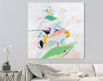 Abstract painting canvas PRINT up to 40x40 large abstract art White Painting with green and pink Playfulness 02 by Duealberi
