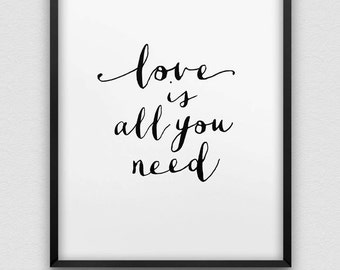 printable 'love is all you need' poster // instant download print // printable typographic wall decor // love print //  anniversary gift