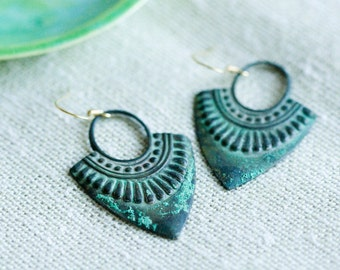 Verdigris Bohemian Earrings Patina Boho Earrings Art Deco Dangle Earrings Rustic Drop Earrings - E274