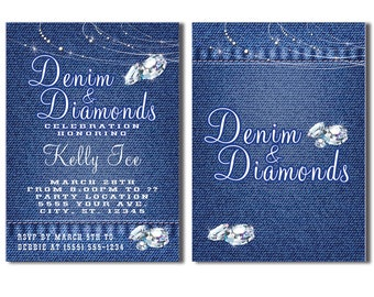Denim and Diamonds Party Invitations, Printable Invitation