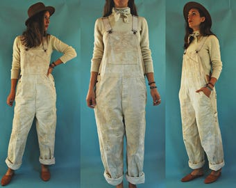 1970s Caboose Tea Stained White / Cream Painters Work Overalls / Mens M - Womens L