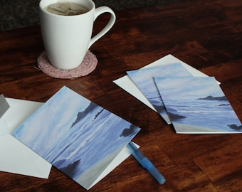 Watercolor Note Cards - Scotland Art - Blank Note Cards - Lake Art - Ocean Art - Note Cards with Envelopes - Note Card Set of 10