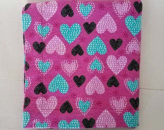 Receiving blanket toddler blanket flannel hearts extra large size